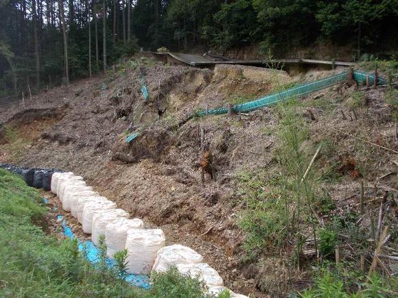 同じく5日に撮影。下を流れる藤坂川の工事も必要です。
