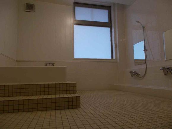 浴室の窓にフィルムが貼られ、光だけ透過します。