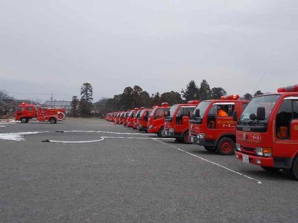 整列した消防車